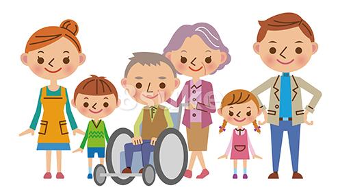 イラスト素材:3世代家族の介護イメージ(ベクター・JPG)