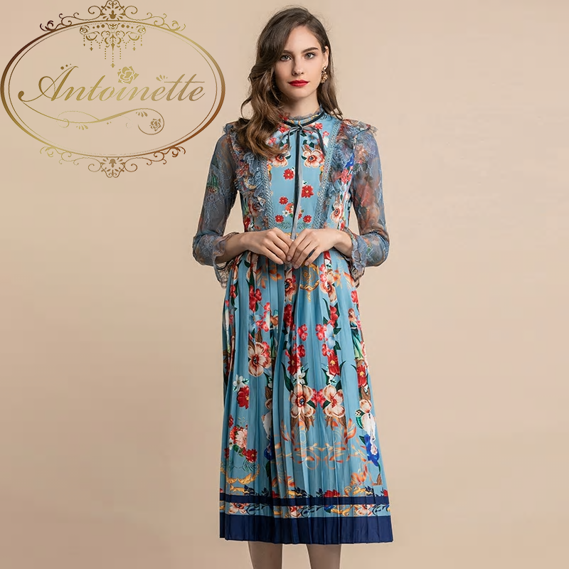 Elegant Dress Women's Lace Long Sleeve Vintage Blue Floral Print Ruffles Pleated Midi Dress