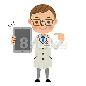 イラスト素材:タブレット端末を持つ医者・ドクター(ベクター・JPG)