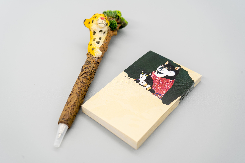 【卓上メモ】 黒柴さんと黒猫さん ※書きやすい名刺サイズの付箋50枚※