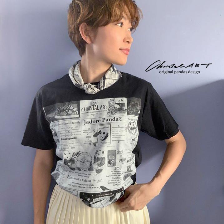 Tシャツ単体(黒地)◆パンダニュース柄