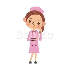 イラスト素材:困った表情の看護師/ナース(ベクター・JPG)