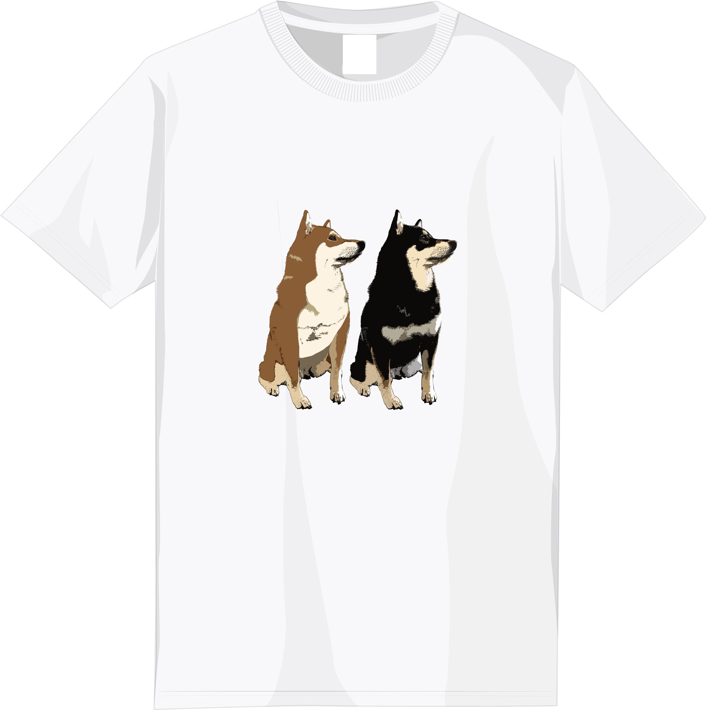 【期間限定受注】選べる全6種!フルカラー柴犬デザインTシャツ<⑥:柄小さめ>