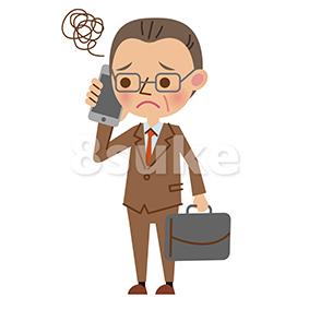 イラスト素材:スマートフォンで通話する中年のビジネスマン/困った表情(ベクター・JPG)