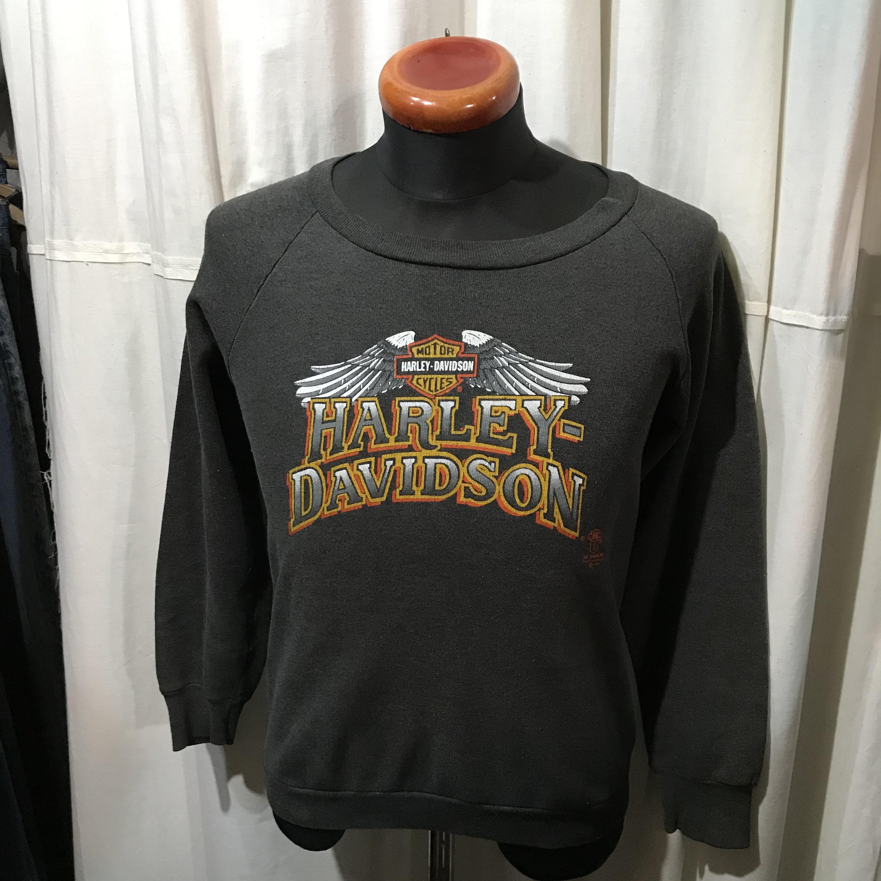 80's アメリカ製 HARLEY DAVIDSON ハーレイダビッドソン 3Dロゴ スウェットシャツ メンズS