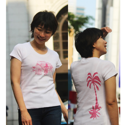 APPLE HOUSE/ZA TOKYO  100%made in Japan. ソフトフィットでシルエットが綺麗なフレンチ袖、ちょっと広めのクルーネック・レディースTシャツ(Sunrise) No.134292