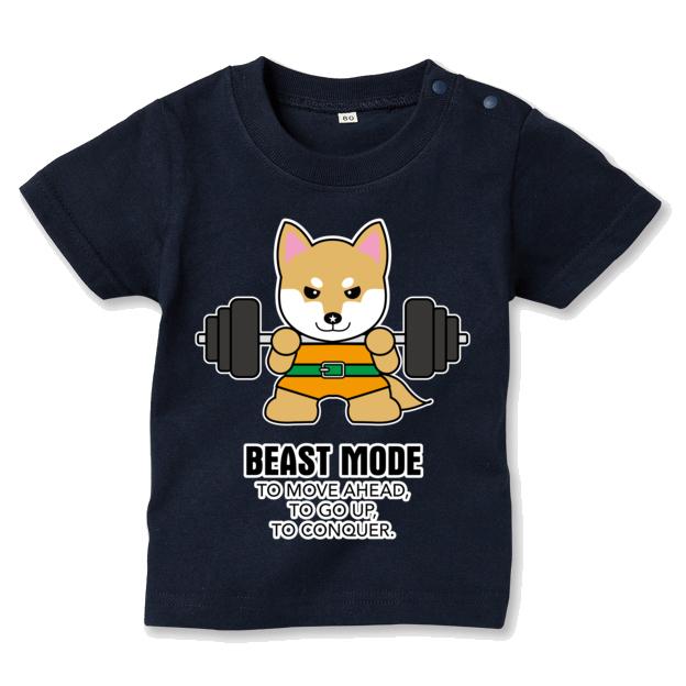 【BEASTMODE】バーベル 柴犬 キッズ Tシャツ
