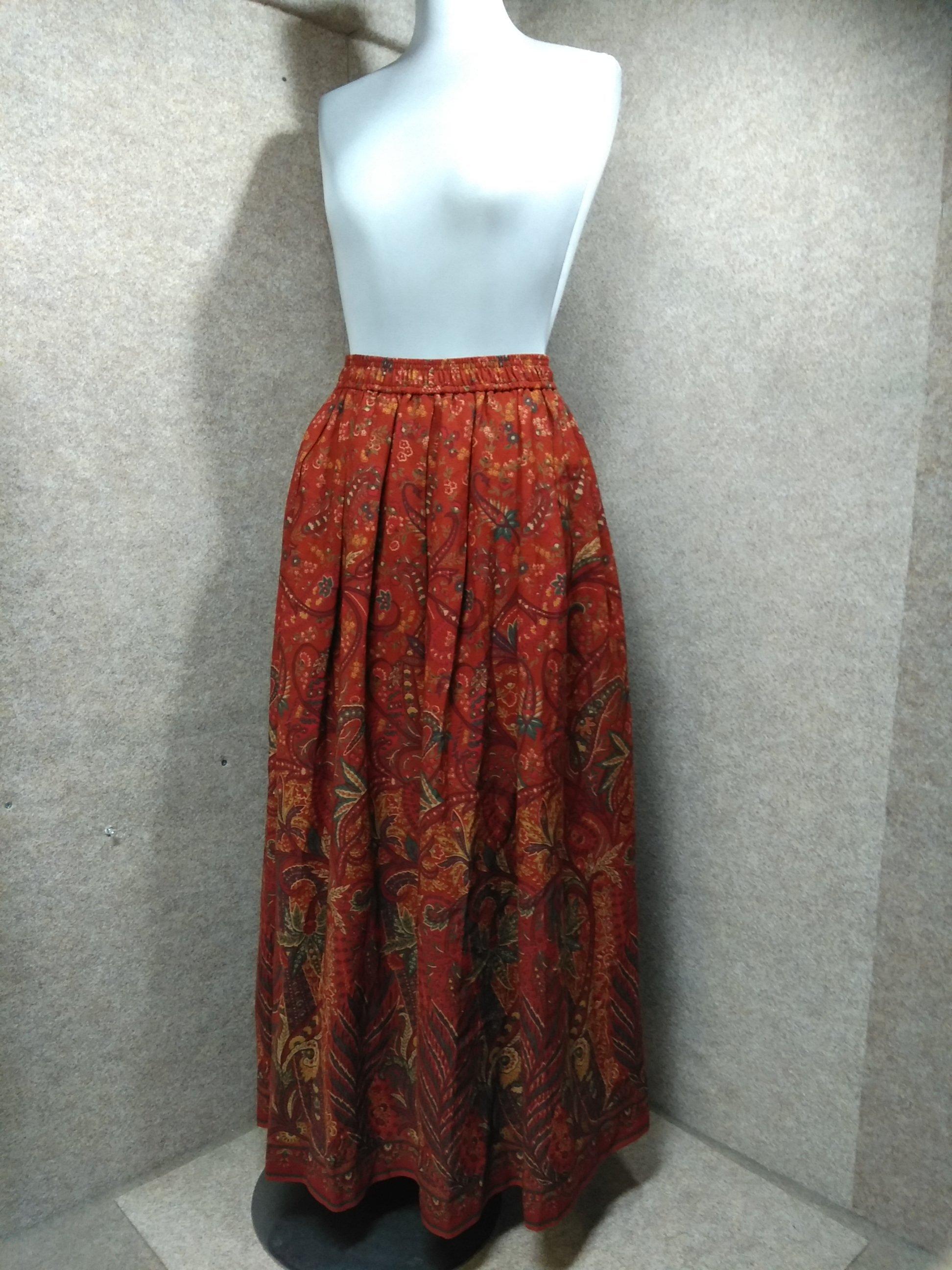 スキャパ SCAPA エスニック柄 ロングスカート 赤茶系 mu923e