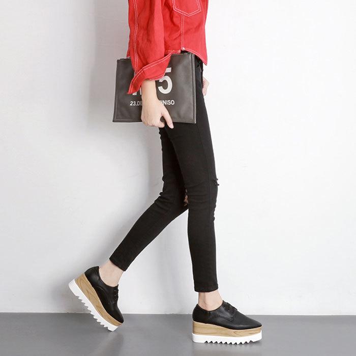 ★厚底プラットフォームオックスフォードオジ靴♪2色x6サイズ