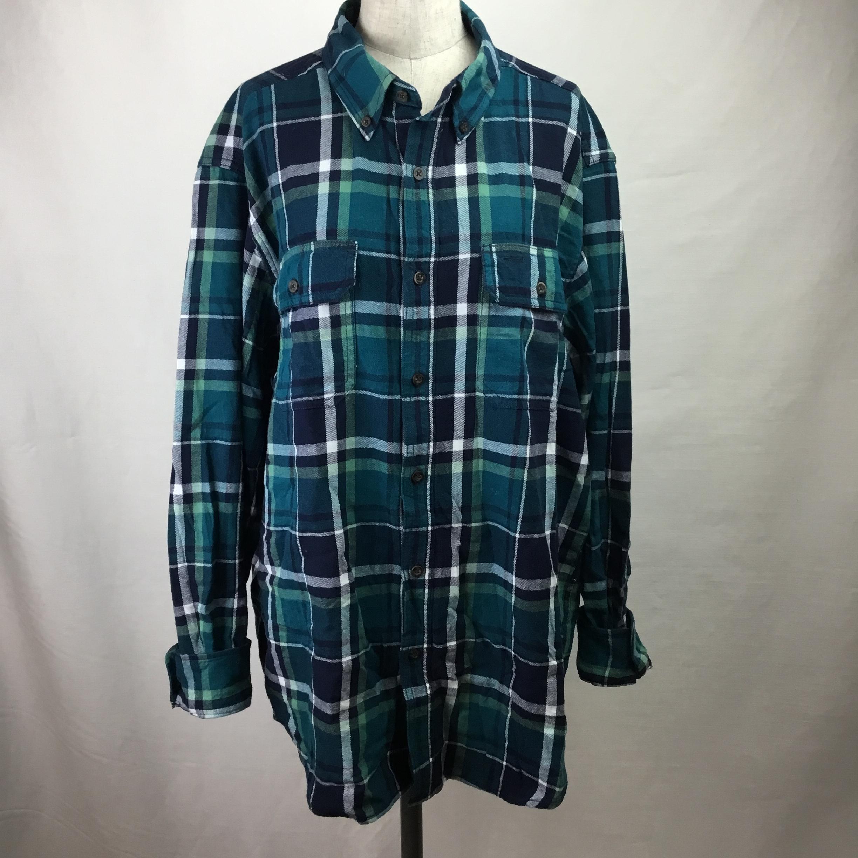 ヴィンテージフランネルシャツ(グリーン×ネイビー)