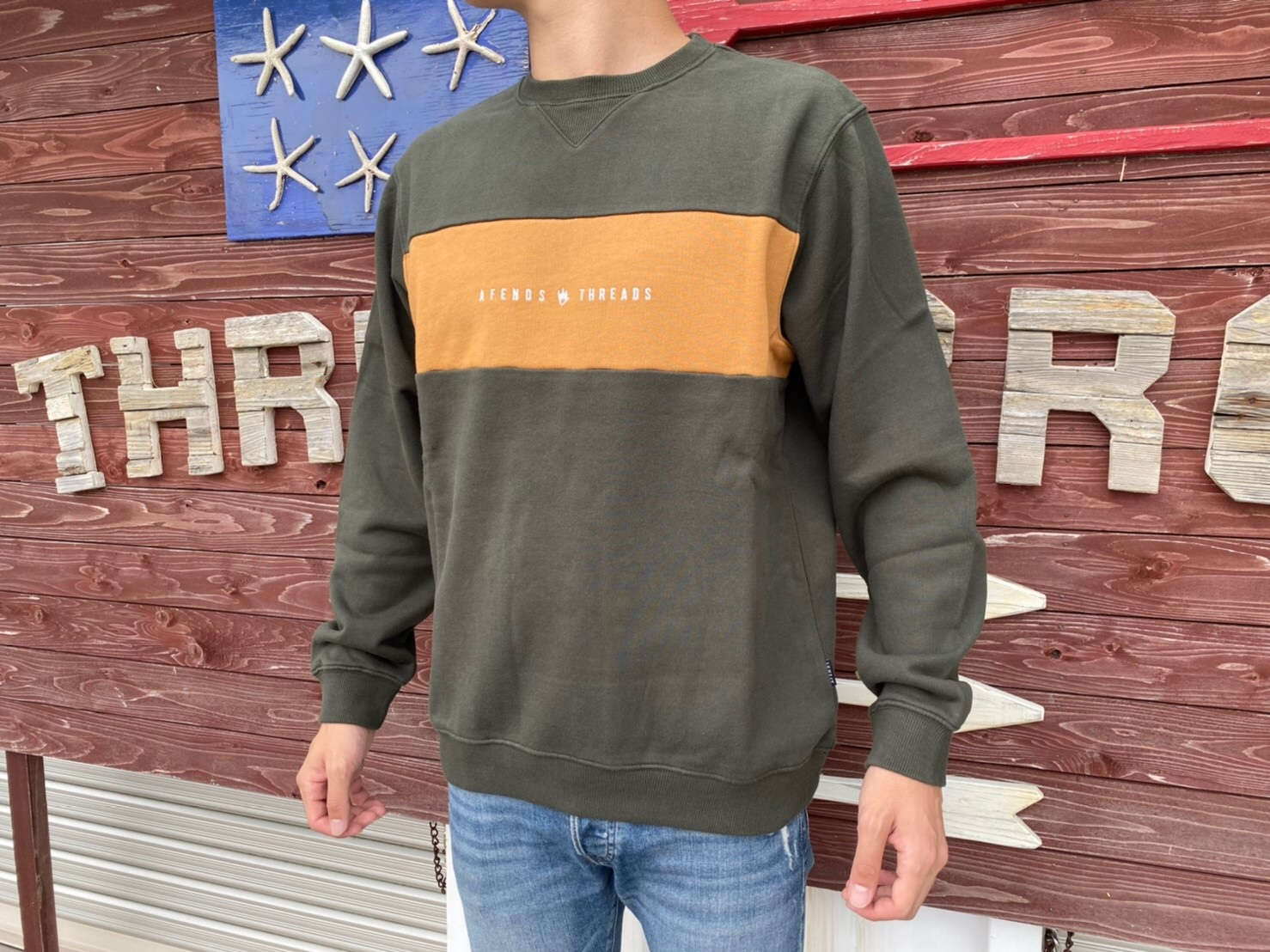 【Afends.】 THREADS PANEL CREW NECK (duffel)