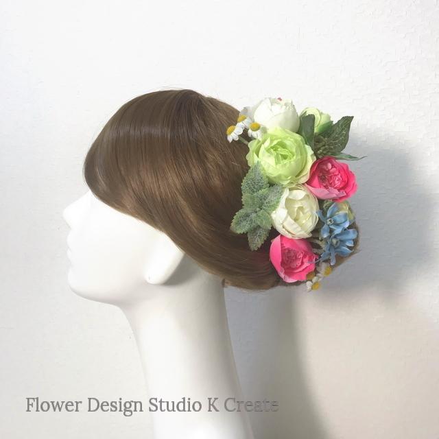 ブルースターとラナンキュラスのヘッドドレス(Uピン 14本セット) 結婚式 ウェディング