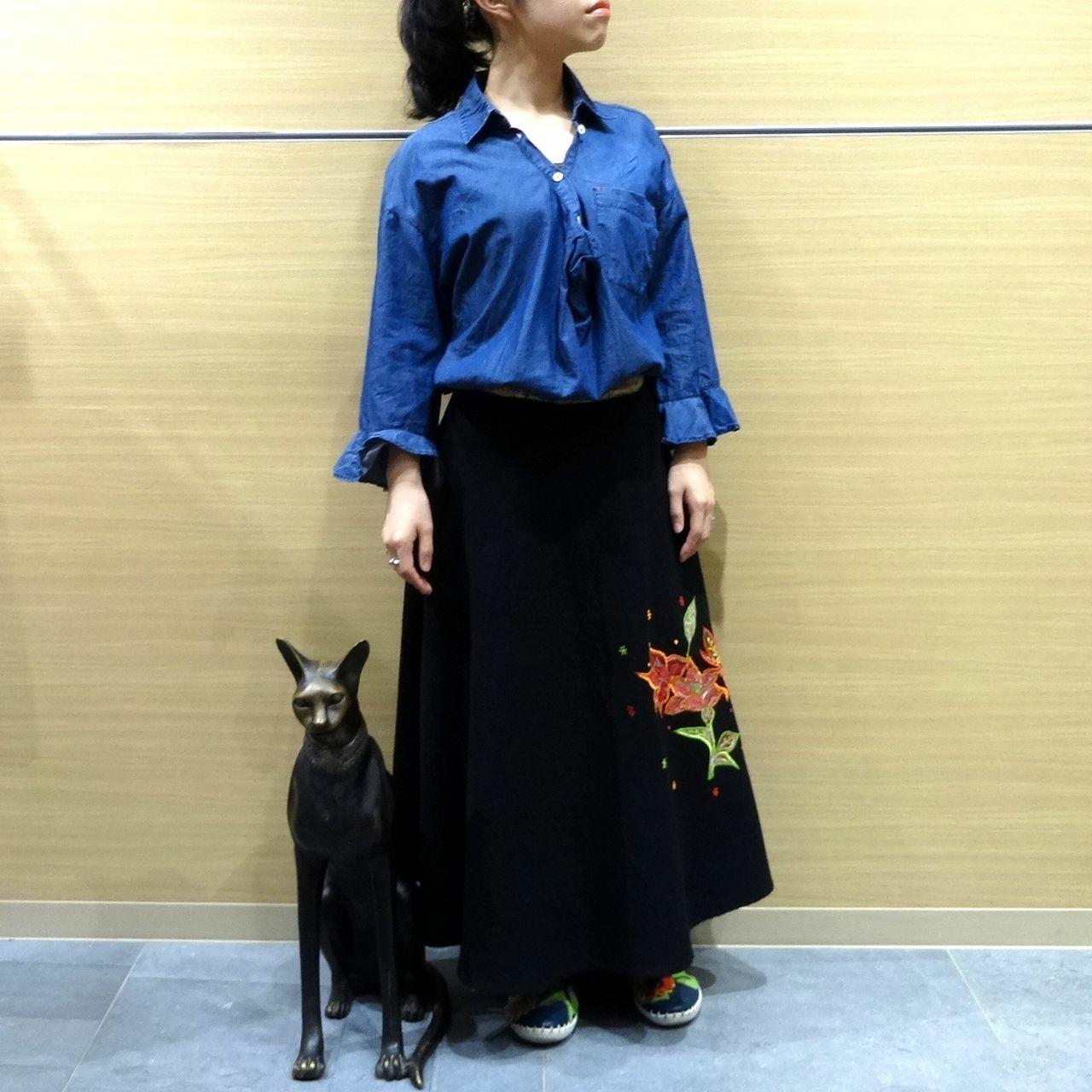 ebwb-007 刺繍コットン・サリー 巻きスカート