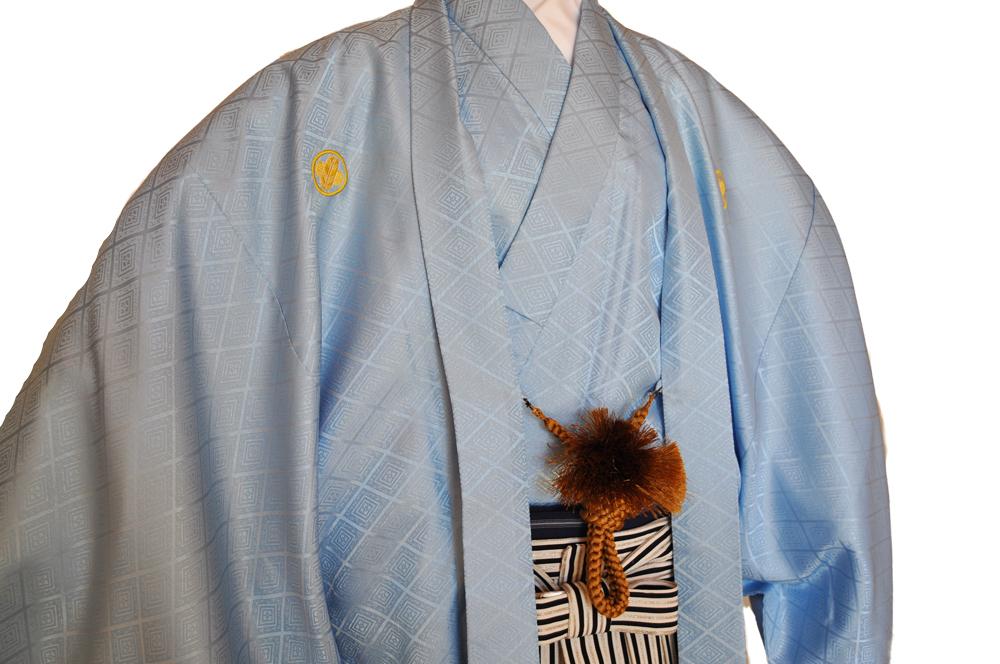 レンタル男性用【紋付袴】水色着物羽織と黒銀ぼかしの袴フルセットblue1[往復送料無料] - 画像3