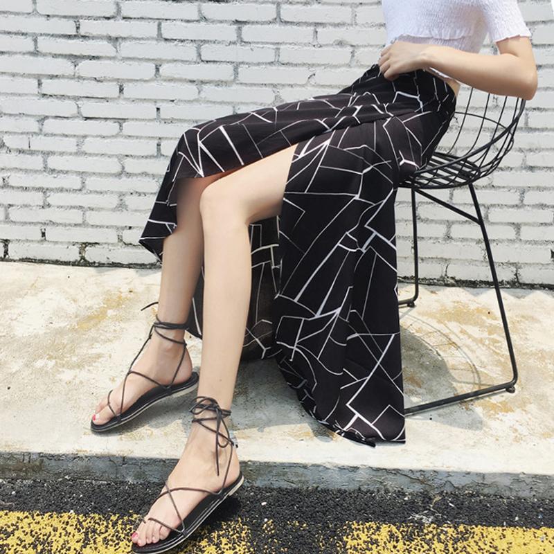 【bottoms】配色ファッションスリットスカート20483862