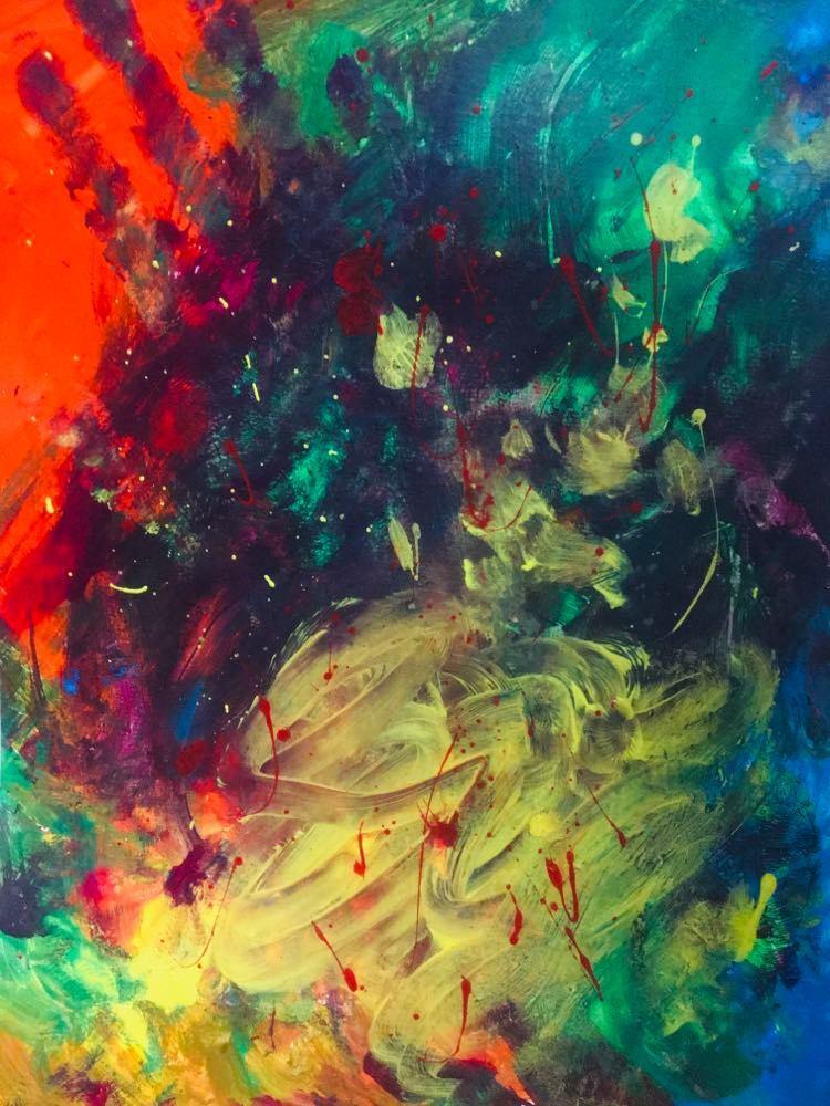 【8/29-9/8期間限定!菊沢将憲最初期絵画展作品】  音楽1     230mm×310mm白い額縁付き