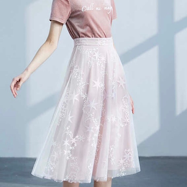 トレンド☆2018☆ スカート Aラインスカート シースルー 星柄 刺繍 シフォン ミモレ丈