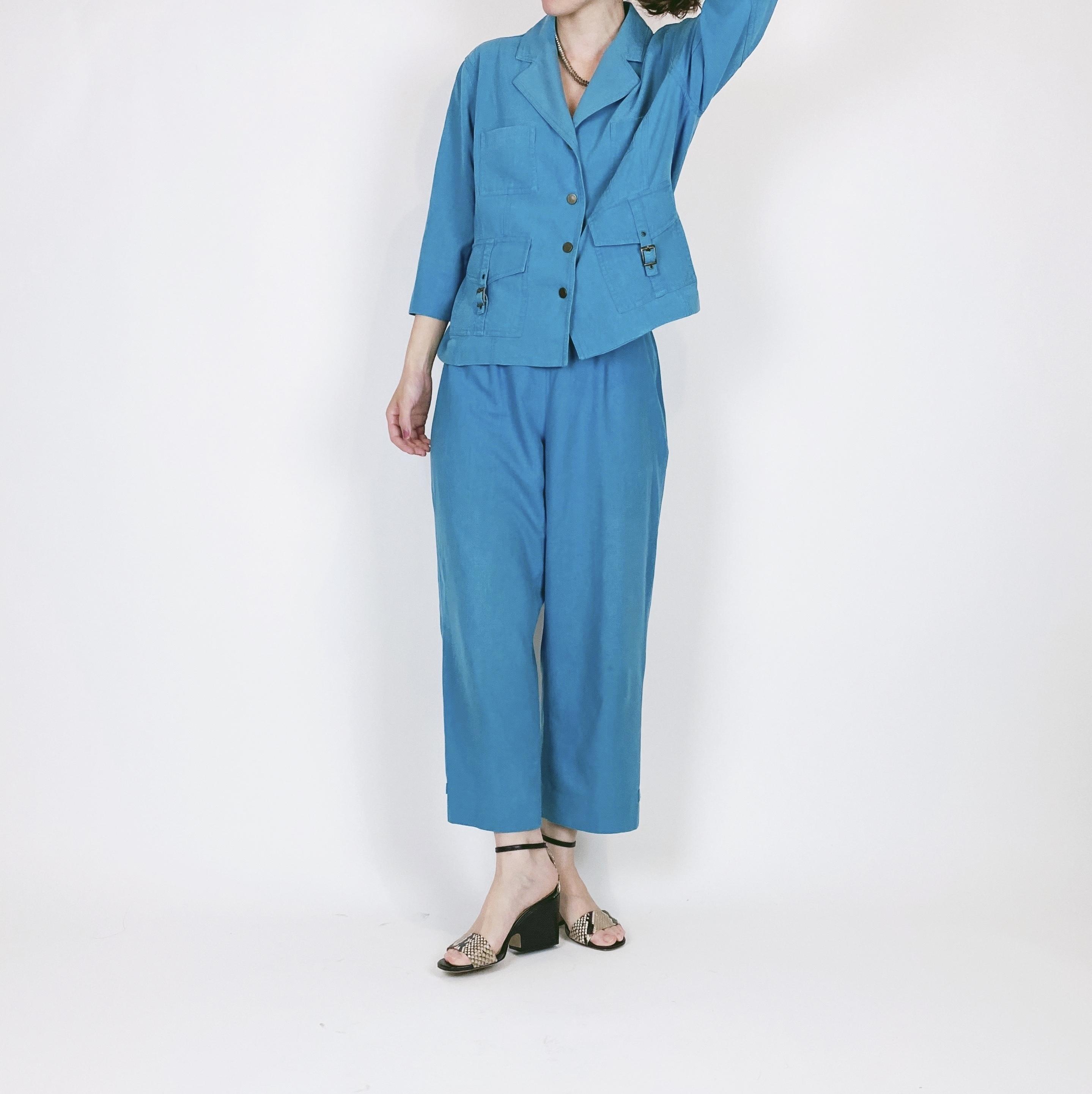 ◼︎80s vintage silk 2pcs jacket & pants from U.S.A.◼︎