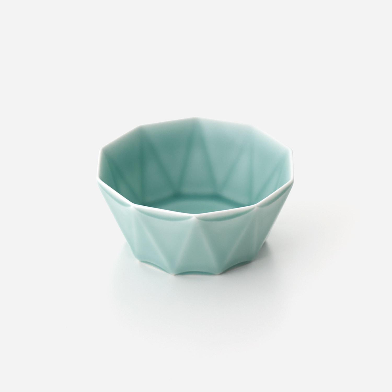 青磁 十角彫深鉢