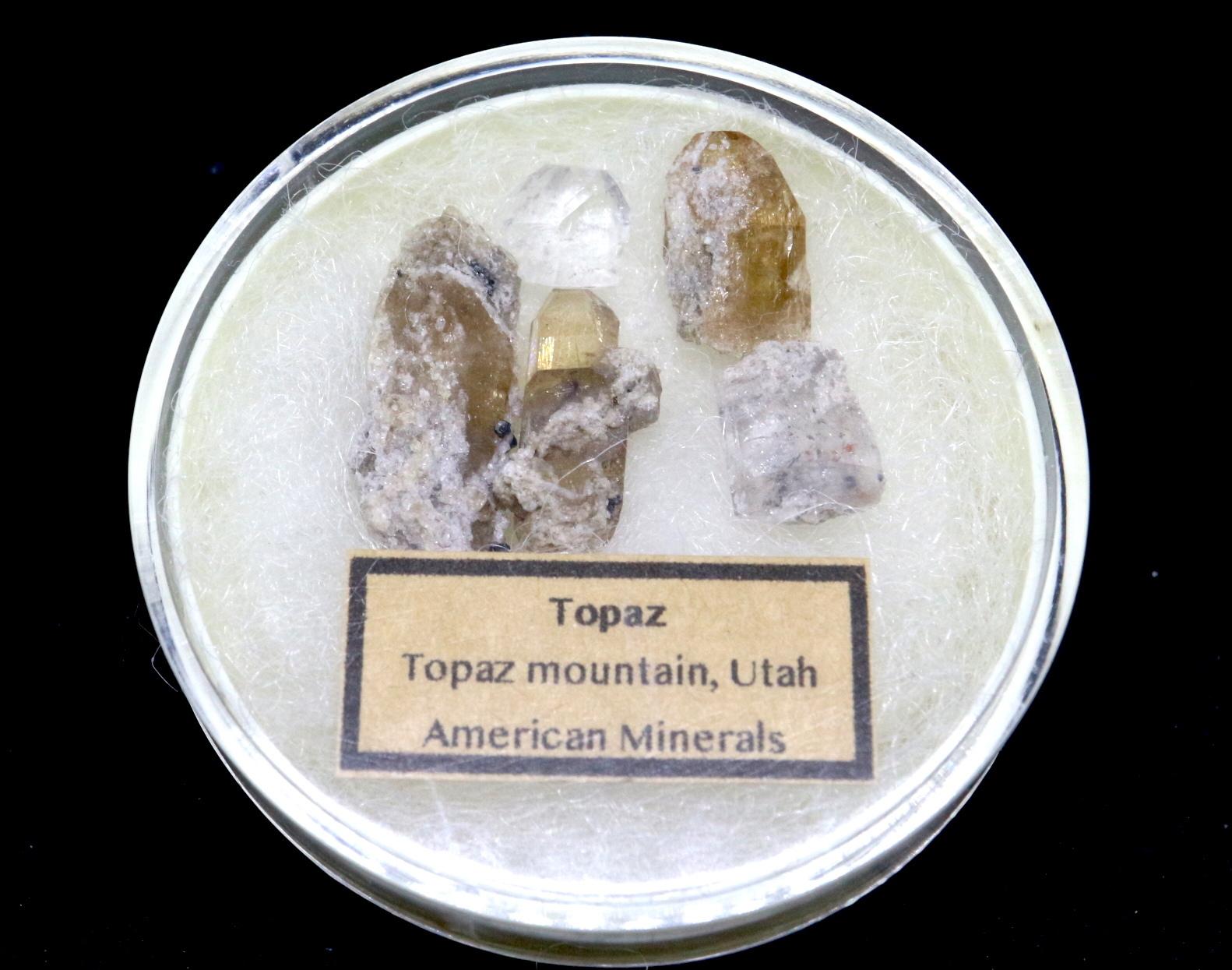 【鉱物セット】自主採掘 トパーズ ユタ州産 5個セット ケース入り TZ026