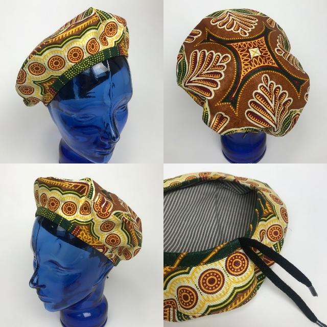 アフリカンプリントベレー帽 01