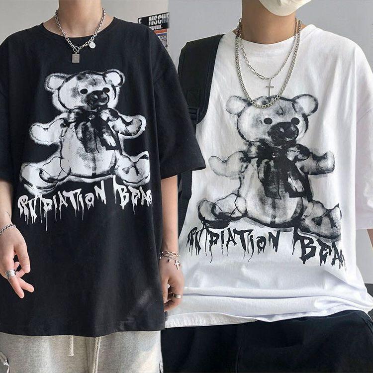 ユニセックス Tシャツ 半袖 メンズ レディース シンプル ダークベアー ダーククマちゃん オーバーサイズ 大きいサイズ ルーズ ストリート