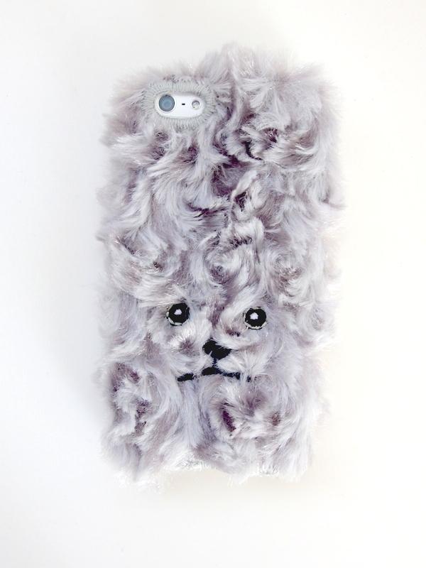 トイプードルiPhone5/5c/5sカバー巻き毛【シャイニーグレー】