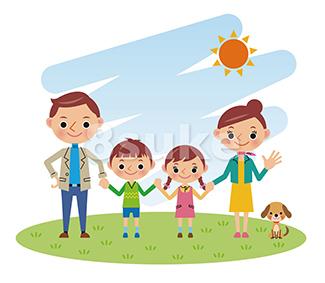 イラスト素材:青空の下で手をつなぐ4人家族(ベクター・JPG)