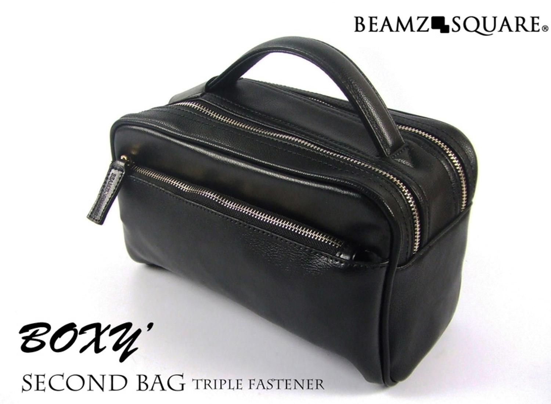 【メンズバッグ】BEAMZSQUARE 牛革製BOXYスタイルセカンドバッグ ブラック