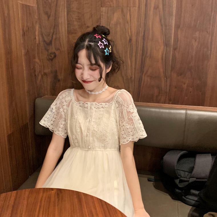 【送料無料】 夏ワンピ♡ レース メッシュ チュールスカート ワンピース ガーリー Aライン