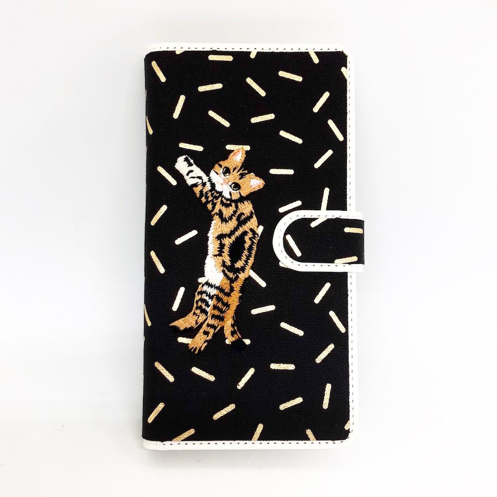 【Lサイズ 7ポケット】ブラウンストライプキャット手帳マルチスマホケース【箔プリント】