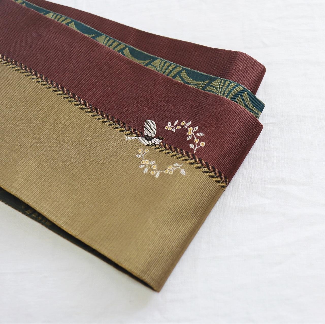 【半巾帯】小鳥 / 茶色 リバーシブル ロングサイズ4.4m