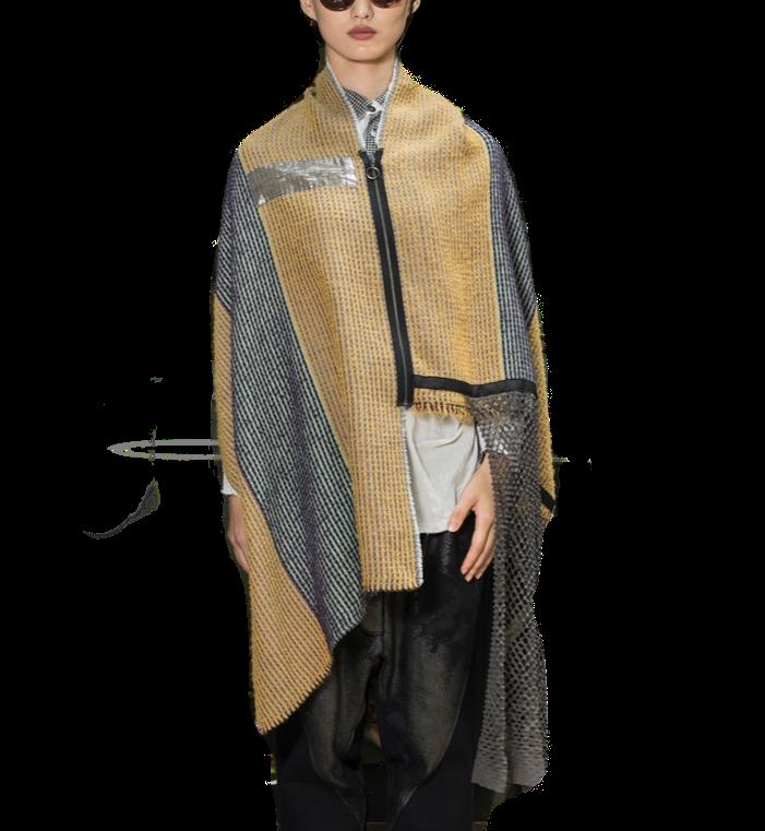 ケープストール[イエローパカ] 着るストール 日本製