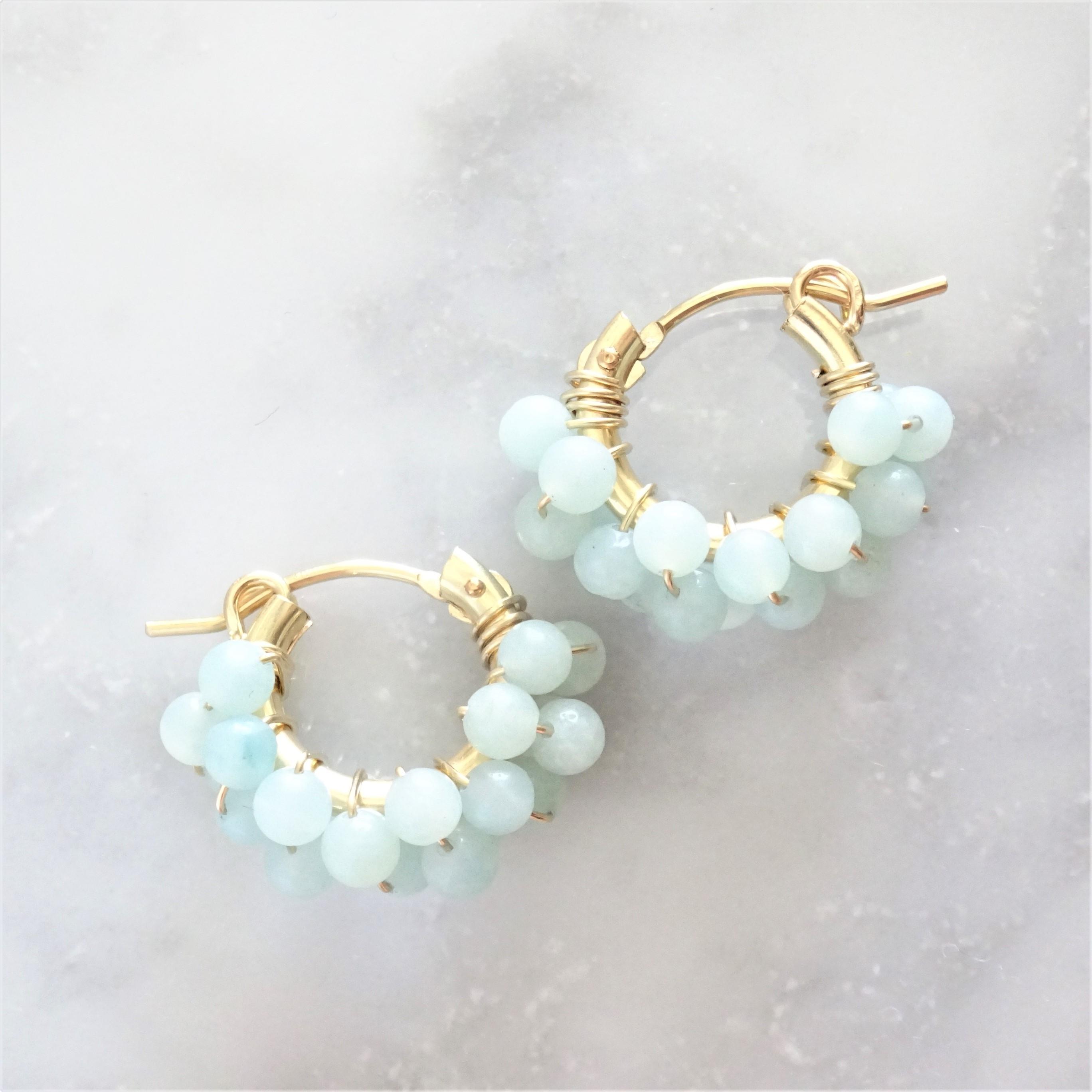 送料無料14kgf*Amazonite pavé earring / pierced earring