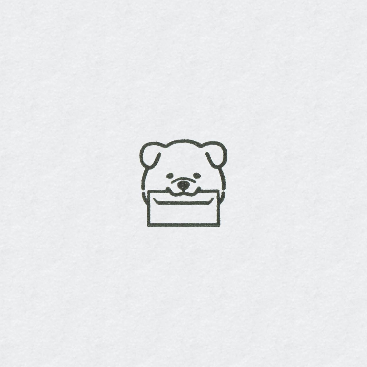 封筒と柴犬 ミニハンコ