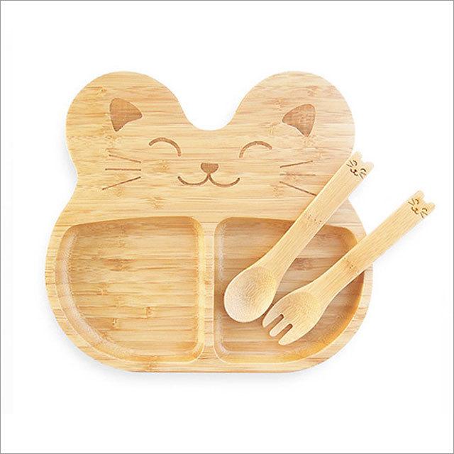天然竹製 子供用ランチプレート(猫)