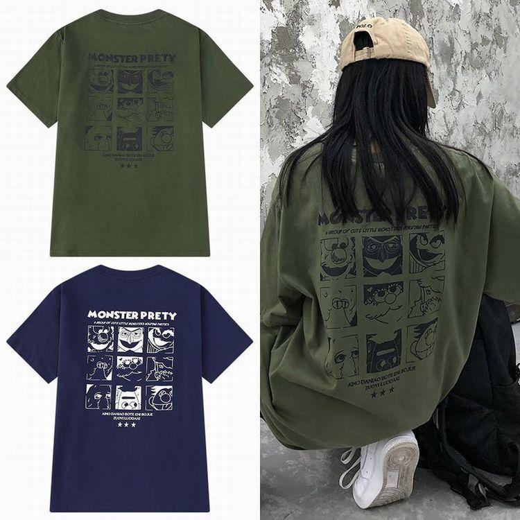 ユニセックス 半袖 Tシャツ メンズ レディース 英字 MONSTER PRETY モンスタープリント オーバーサイズ 大きいサイズ ルーズ ストリート