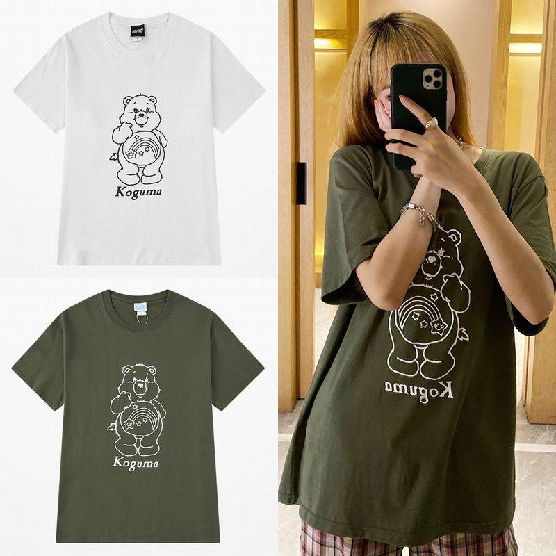 ユニセックス Tシャツ 半袖 メンズ レディース ラウンドネック かわいい クマちゃん ベアー プリント オーバーサイズ 大きいサイズ ルーズ ストリート