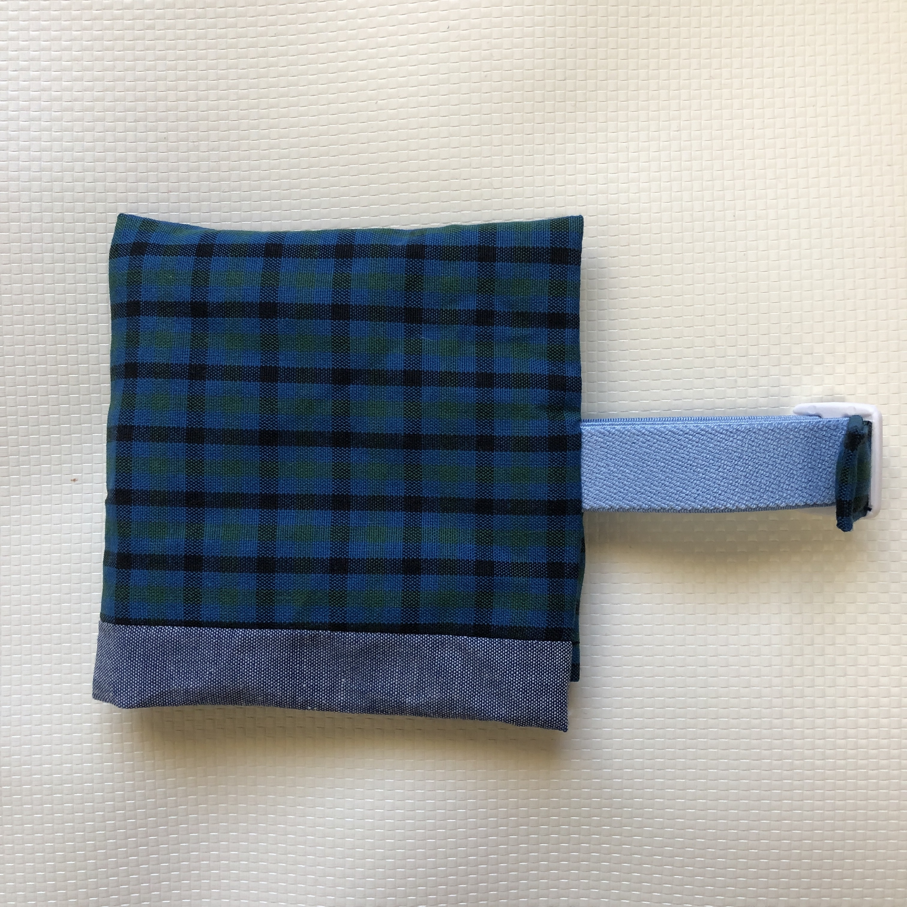 緑タータンxダンガリー(水色ベルト)  保冷袋付きランチベルト (新サイズ)