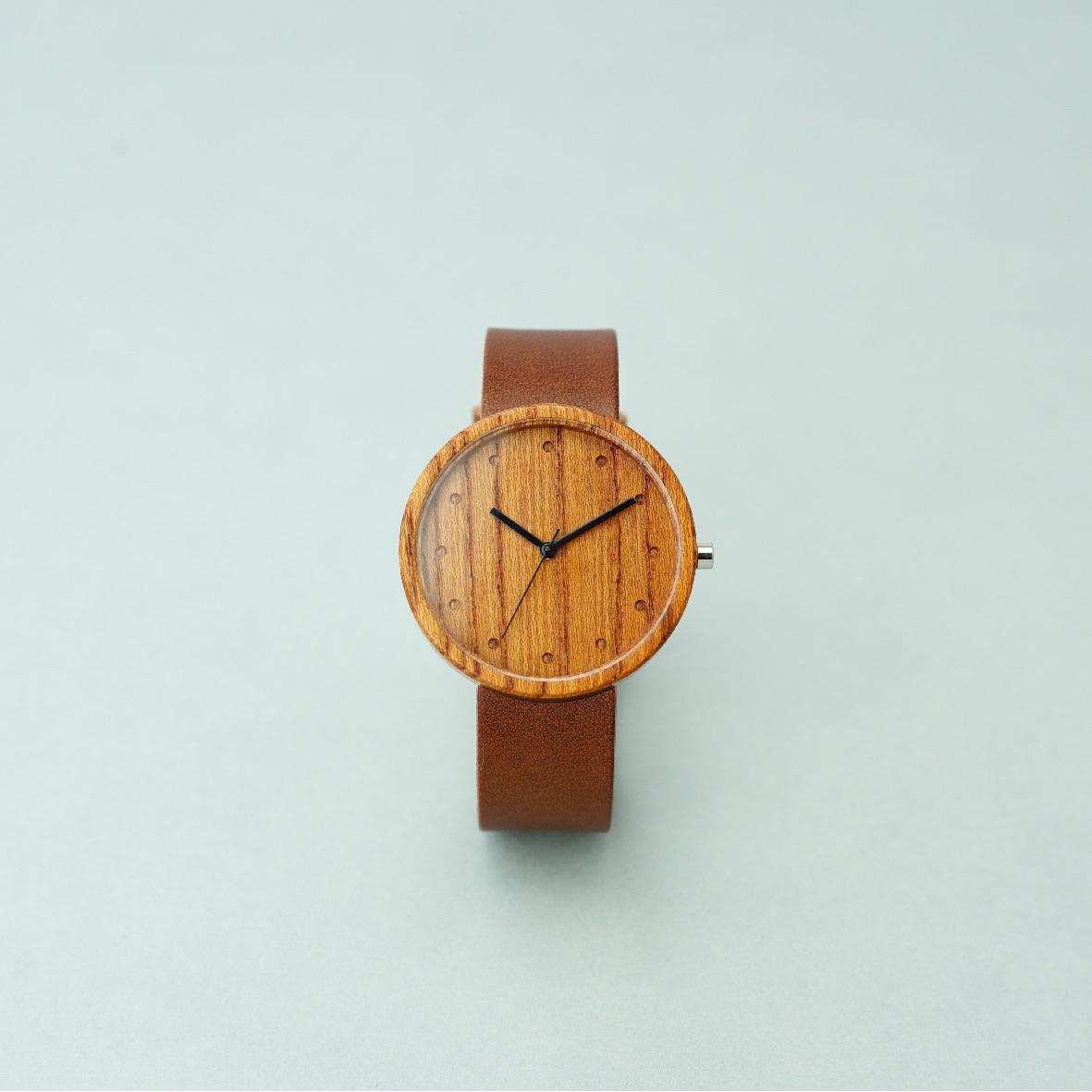 Zelkova wood - Organic leather Dark Brown - L