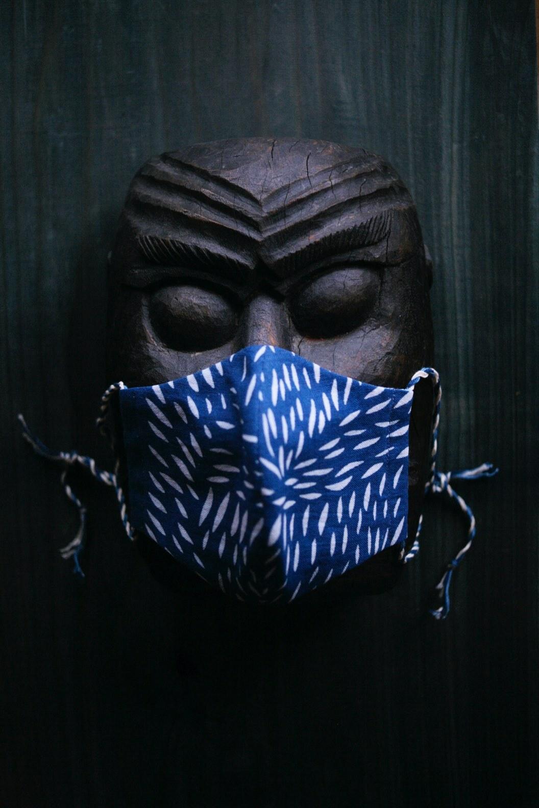 藍染獣毛文様マスク