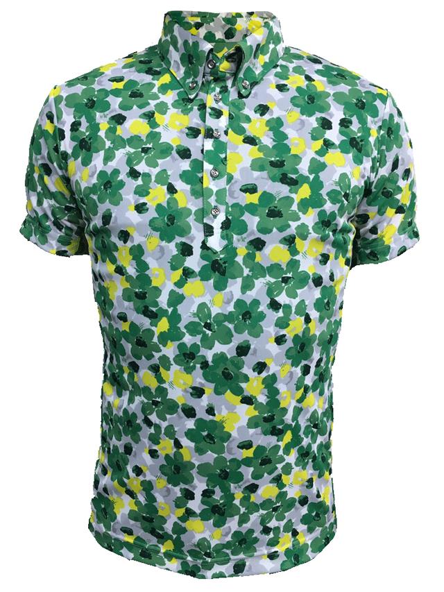 ゴルフプロ監修 緑花柄メンズ半袖シャツ【日本製】18017