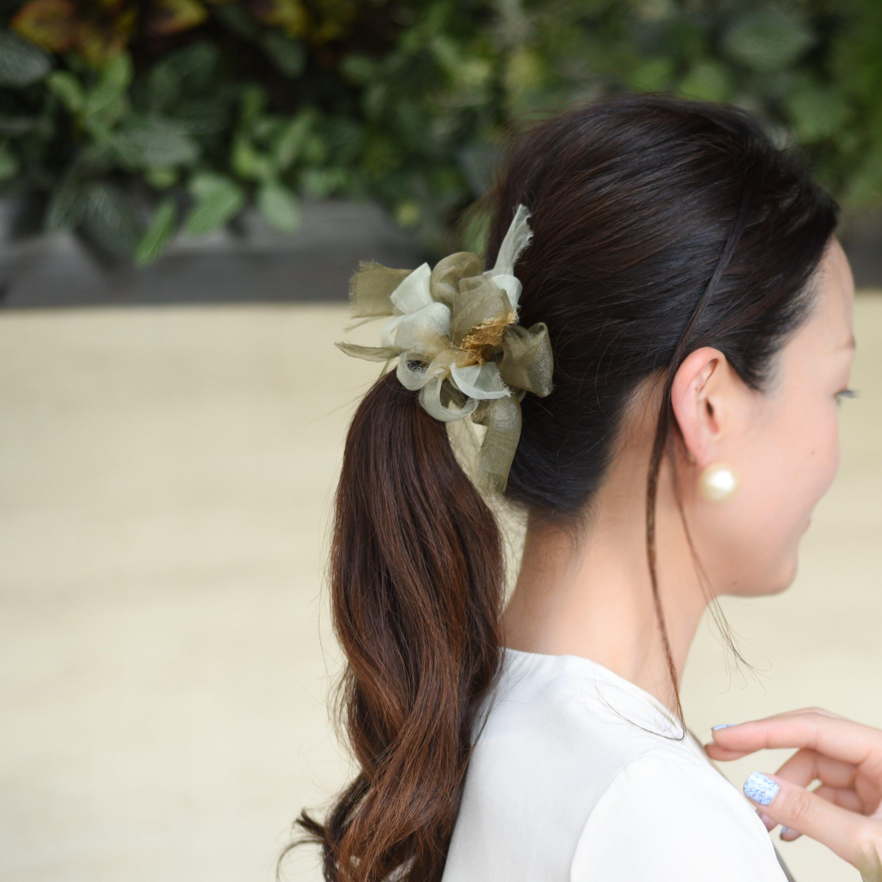 <mini>抹茶~彩る咲き編みシュシュ