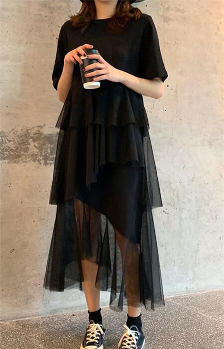 【dress】カジュアル無地半袖ラウンドネックカジュアルワンピ17830426