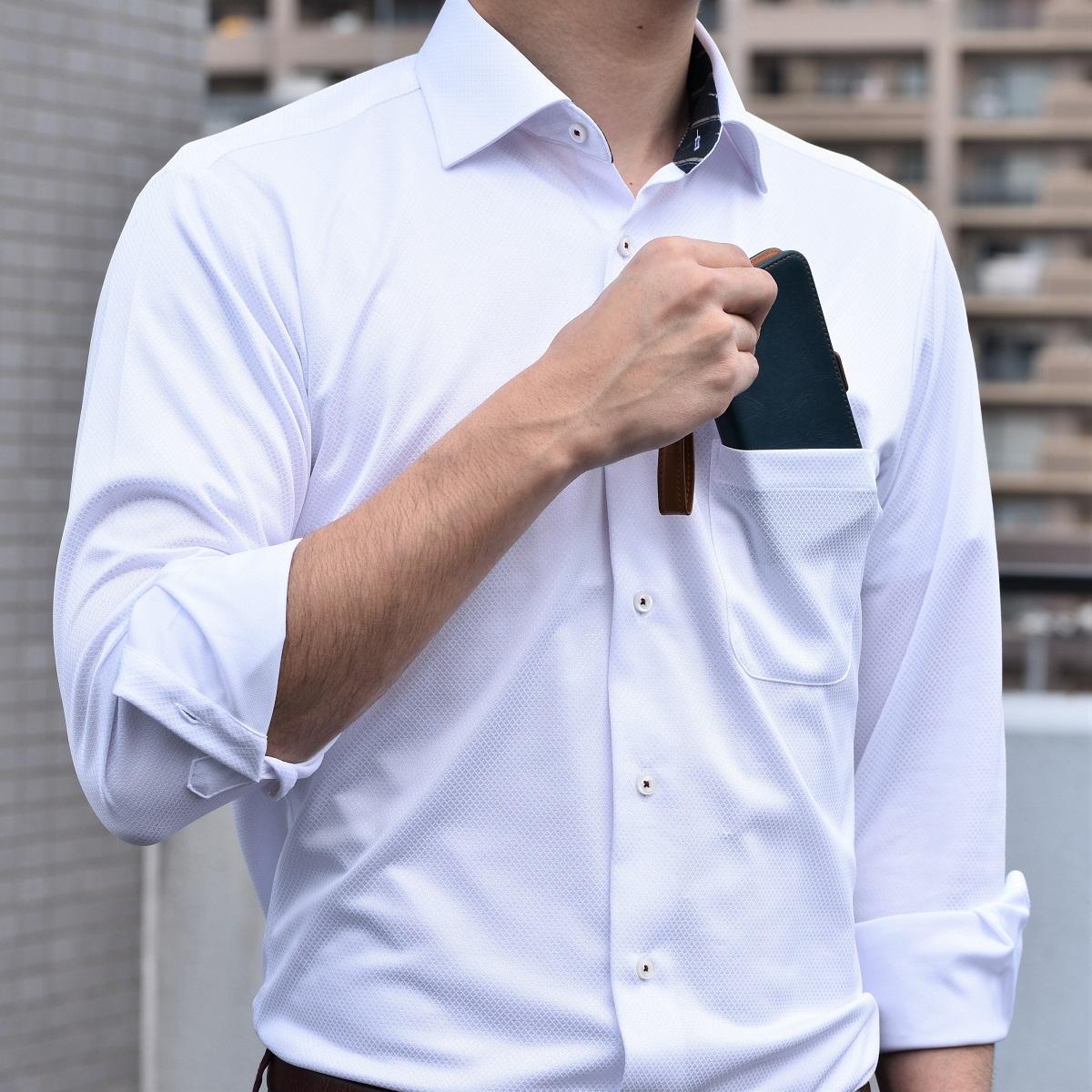【日本製】伸び~るストレッチシャツ100%ノーアイロン(ホワイト)