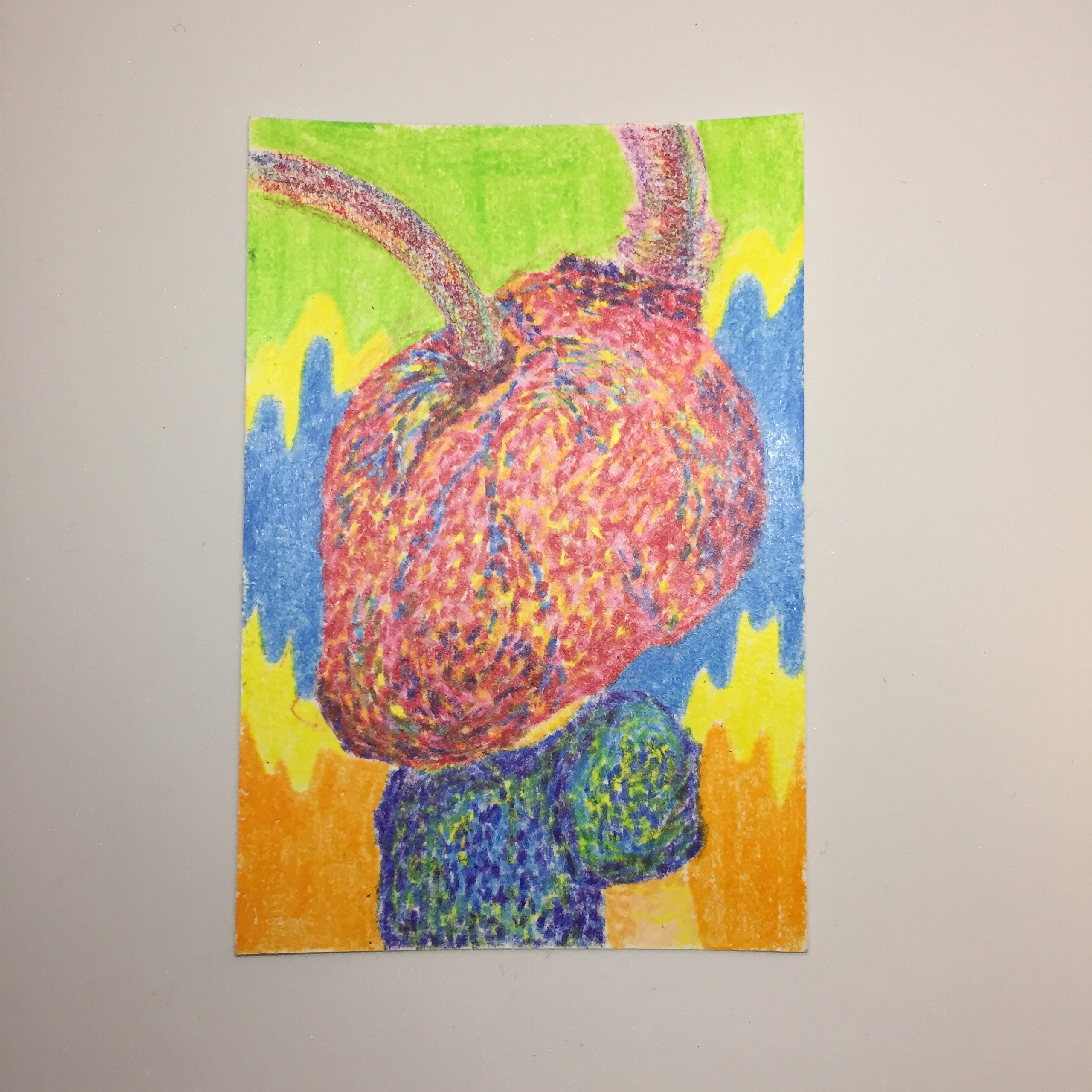 Heart human 8 years old / 100mm×148mm / Crayon / Original Drawing