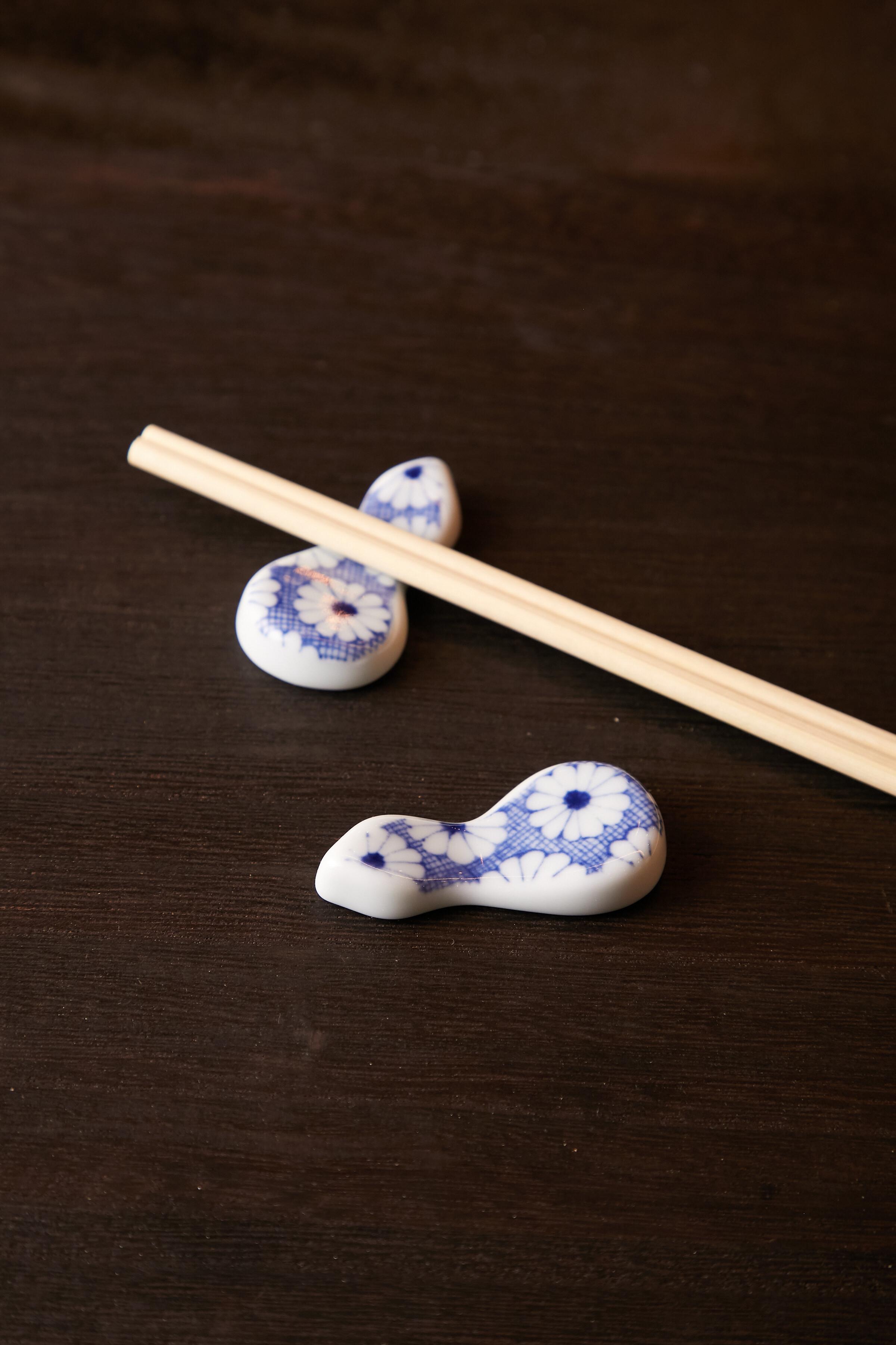 菊紋 ひさご箸置き 日本製 美濃焼【送料無料】