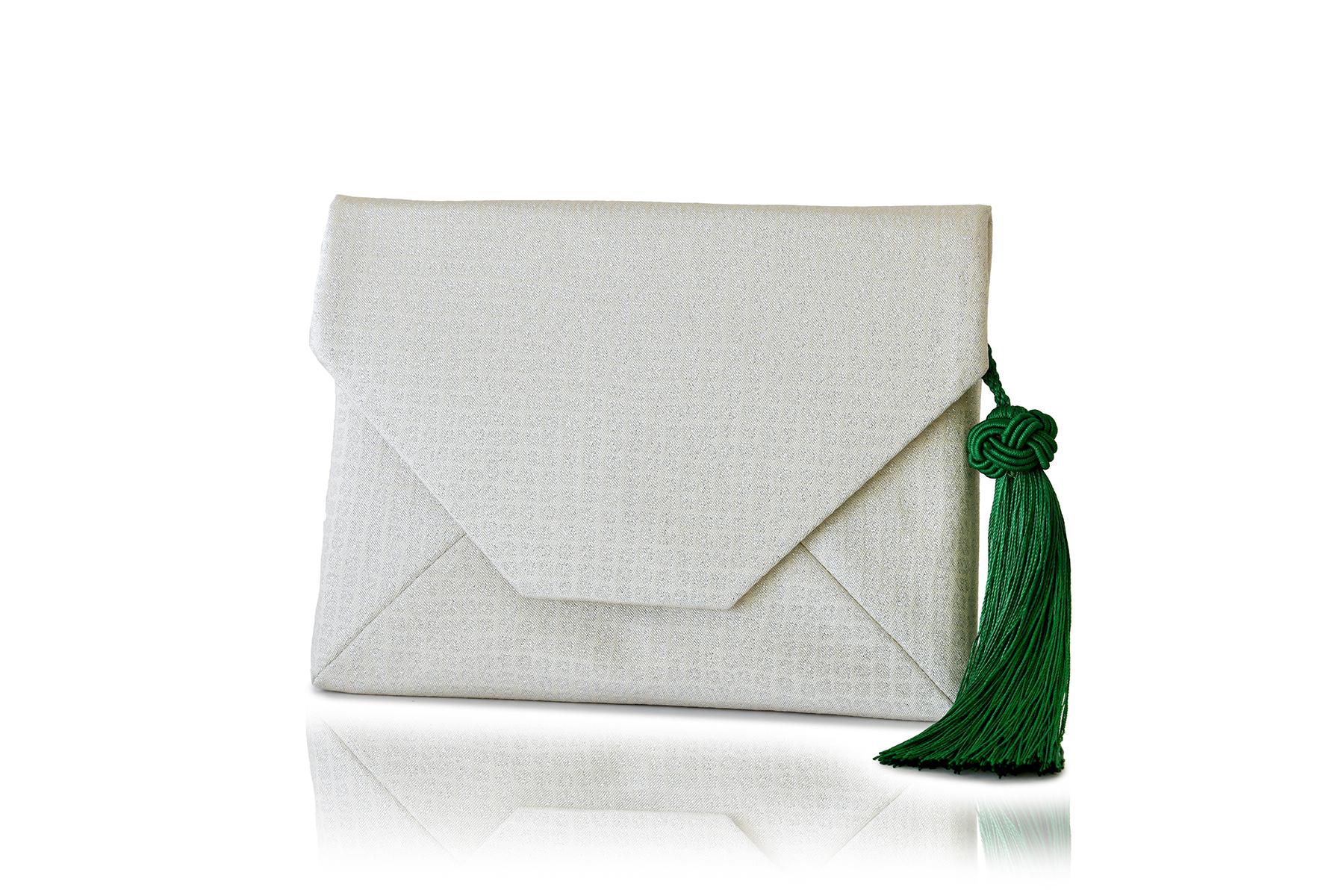 すきや袋 / 銀無地袋帯 /「格子紋」白 / OSK-FUK-M71-C11-9