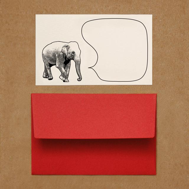 封筒つきメッセージカード(ゾウ)
