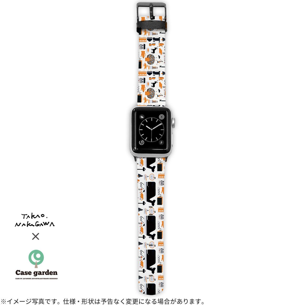 Apple Watch バンド アップルウォッチ ベルト 革 アップルウォッチ3 アップルウォッチ バンド レザー くじら 童話 ピノッキオの冒険/中川貴雄×ケースガーデン